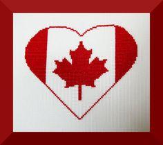 Canada Flag Heart Cross Stitch Pattern, Canada Embroidery Chart, Canadian Flag Cross Stitch Design, Instant Download by BlueTopazStitchery on Etsy