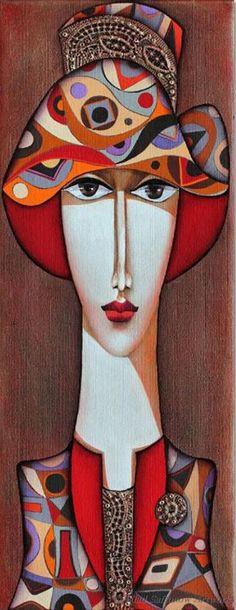 'Lady with Hat' - by Wlad Safronow, Ukranian artist, born 1965 in Kharkov, Ukraine. Art And Illustration, Wal Art, Arte Pop, Silk Painting, Portrait Art, Portraits, Figurative Art, Female Art, Modern Art