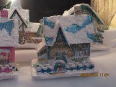 """Putz House Photo #2  All of the posted photos 1 through 15, are approx.  4"""" to 5""""  tall.  Ornament size.  Crafted by Karla Mitchell"""