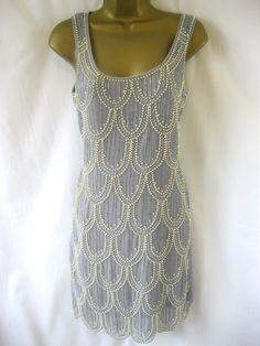 Rise Boutique Sz 12 Lavender Grey Regina Pearl Beaded Flapper Dress Scalloped | eBay