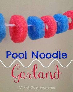 See how to make easy DIY Pool Noodle Garland for party and holiday decorations. See how to make easy DIY Pool Noodle Garland for party and holiday decorations. Pool Noodle Games, Pool Noodles, Pool Party Decorations, Holiday Decorations, Garland Decoration, Pool Party Crafts, Pool Party Themes, Banquet Decorations, Locker Decorations