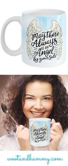 Always remember that Angels are by your side with this beautiful mug featuring a pair of angel wings against a cloudy blue sky. Always Remember, Always Be, By Your Side, Angel Wings, Monograms, Best Quotes, Angels, Rocks, Mindfulness