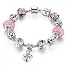 $7.99 925 Silver Charm Bracelet with Heart Pendant