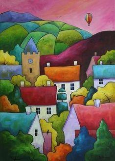 Bellasecretgarden — (via Dawn Rising by Gillian Mowbray / folk art /. on imgfave Silk Painting, Painting & Drawing, Vinil Wallpaper, Art Fantaisiste, Art Village, Naive Art, Whimsical Art, Oeuvre D'art, Landscape Art