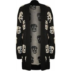 Alanna Skull Open Knitted Cardigan ($19) ❤ liked on Polyvore featuring tops, cardigans, black, shirts, skull shirts, skull print cardigan, skull cardigans, skull top and cardigan shirt
