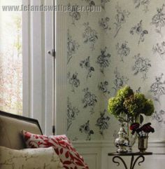 Romantic roses and french script grace the walls in Waverly's new Picture Perfect wallpaper by York.  http://lelandswallpaper.com
