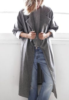Grey wrap coat and boyfriend jeans | @andwhatelse