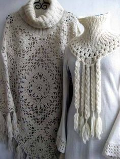 Crochet - like the poncho. Crochet squares in 2 sizes, collar is knit in the round. Pull Crochet, Crochet Cape, Crochet Poncho Patterns, Crochet Shawls And Wraps, Crochet Motifs, Shawl Patterns, Crochet Scarves, Crochet Clothes, Crochet Stitches