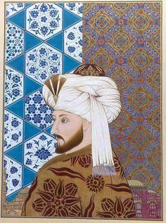 Mehmet, Fatih 1444 - 1451 - Based on the Bellini portrait. Oil, 21 x 16 cm. Diy Carpet, Modern Carpet, Wall Carpet, Carpet Ideas, Egyptian Drawings, Ottoman Empire, Textiles, Islamic Art, Traditional Art