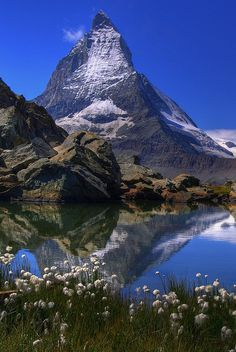 View over lake Riffel towards Mt. Matterhorn - Switzerland very much like Mt. Assiniboine in Canada [which see] Zermatt, Colorado Mountains, Appalachian Mountains, Snowy Mountains, Rocky Mountains, Beautiful World, Beautiful Places, Travel Hacks, Travel Ideas