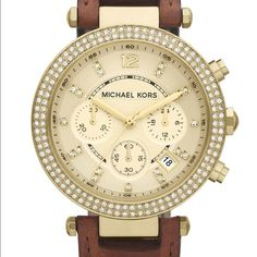 """Michael Kors """"Parker"""" brown leather watch EUC!!!!!!! I took excellent care of this watch! SOLE owner! Have barely had it 8 months. Bought last fall. I'm just not wearing it, so it needs a good home ... No scratches on the face or the back of the face! There is one tiny scratch on the top portion of the leather which you can see in the photo, NOT noticeable when wearing. & other than that small wear at the holes in the strap, normal wear from the few uses I I did wear...NOT noticeable when…"""