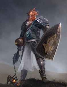m Dragonborn Paladin Plate Armor Shield Flail male hills Farmland evening Dravarax by Kim Van Deun lg Dnd Dragons, Dungeons And Dragons Characters, Dnd Characters, Fantasy Characters, Fantasy Races, High Fantasy, Fantasy Rpg, Fantasy Inspiration, Character Inspiration