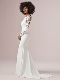 Beautiful illusion cut-out sleeves accent this sleek and classy Chardon crepe wedding dress complete with a bateau neckline and sheath silhouette. Finished with covered buttons trailing down the back over zipper closure. Wedding Dresses Size 14, Crepe Wedding Dress, Fairy Wedding Dress, Sheath Wedding Gown, Classic Wedding Dress, Plus Size Wedding, Bridal Dresses, Wedding Gowns, Wedding Hijab