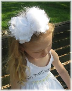 Great hair accessories at Etsy for weddings.  This is a great choice for that special little flower girl.    White Summer Marabou Double Ruffle Organza by RebekahsBowtique, $11.50
