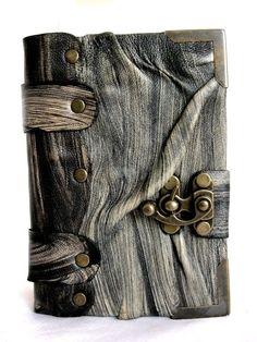 Handmade mini Creased leather journal notebook sketchbook: