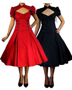 NEW - Rockabilly Fashion :: Rockabilly Black Red Corset 50's Prom Swing Vintage Retro Pleated Dress - Fancy Dress Costumes, Adult Costumes, Fancy Dress Costume Ideas
