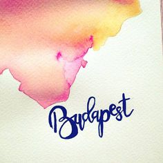 Ombre pink-yellow city silouette /w brush calligraphy ❤ #BUDAPEST   .  .  #brushlettering #watercolorist #weekend #citysilouette #watercolor #pinkyellow #brushcalligraphy #calligraphyart #ombrecolor #ombre #etsyseller #vsco #vscocam #calligraphy #homecity #mik #yellowandpink #goodvibesonly