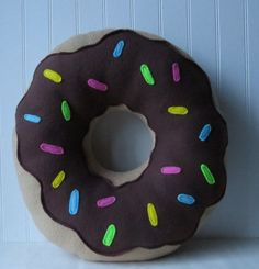 Chocolate Frosted Doughnut Pillow, Doughnut Pillow, Pastry Plush, Food Pillow on Etsy, $25.00