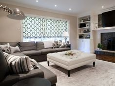 Lux Decor - living rooms - fireplace built-ins, built-in cabinetry around fireplace, built-ins around fireplace, bookshelves around fireplace, hardwood floors, polished nickel apothecary lamp, roman blind, black and white moroccan trellis blind, built-ins, built-in