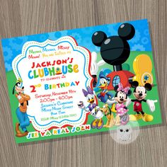 Mickey Mouse Clubhouse Invitation, Mickey Mouse Birthday, Mickey Mouse Clubhouse Party, Mickey Mouse, Clubhouse Birthday, Mickey Birthday