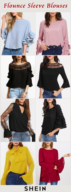 Flounce Sleeve Blouses Source by blouses girl Diy Fashion, Fashion Dresses, Womens Fashion, Fashion Design, Blouse Styles, Blouse Designs, Stylish Dresses, Nice Dresses, Chic Outfits