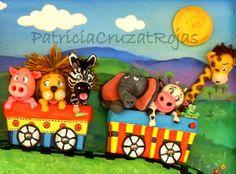 Tren con Animales, cuadro infantil en relieve (detalle) Patricia Cruzat Artesania y Color