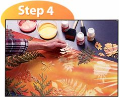Sun Painting or Heliographic Art is a process whereby certain fabric paints are applied to fabric and while still wet, objects like stencils, leafs, feathers etc are placed onto the wet fabric. It is then placed in the sun. the outlines of the objects are transferred to the fabric.