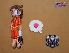 """Portal, great game, great game. I've been playing it again lately which prompted me to move this piece up my """"To-Do"""" list. Bead sprite based off of original pixel art done by Deviant Artist aicube. The arrangement of it is just too cute. <3"""