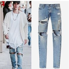 26.86$  Watch now  - God of Fear Justin Bieber Fear of God Best Version FOG Men Selvedge Zipper Destroyed Tour Pants Skinny Jeans Blue Jeans Slim Fit