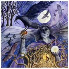 Samhain Crow Woman  Cawing Crows calling, On gusty Autumn Breeze. Goddess sent guides Swirl round leaf-letting trees. The apple of life Returned to the Earth, From darkness to light And the gift of re-birth.
