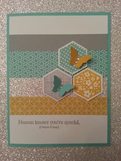 Love Eastern Elegance designer paper and Stampin Up six sided sampler stamp set and hexagon punch set. This is gorgeous!