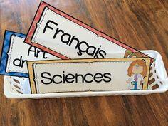 Étiquettes pour décorer la salle de classe - l'horaire de la journée - menu du jour - matières scolaires