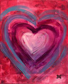 Valentine Folk art Heart Print IIII 13x19 by Natasha by wescoatart, $26.00