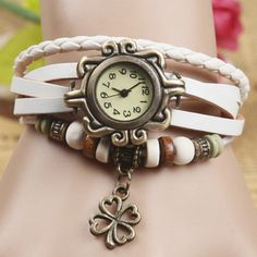 Women Four Leaf Clover Weave Pendant Bracelet Wrist Watch