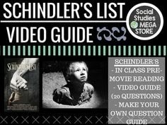 Schindler's List Video guide template and reading bundle World History HolocaustUPDATED: 8/16/15THE FIRST SEMESTER OF WORLD HISTORY THE WHOLE YEAR OF WORLD HISTORY This is a MINI BUNDLE that will include the following items:  1. SCHINDLER'S LIST READING: This is a short reading  that could be closed read or just read individually or as a group.  2.