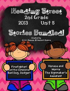"""This bundle includes all five of the unit 5 second grade Reading Street stores for the 2013 version.I am currently working on revisions and will be adding new pages to the last three stories in the pack within the next month. Be sure to check your """"My Purchases"""" page for new updates.Included in this bundle:Fire Fighter! 155 pagesCarl the Complainer  142 pagesBad Dog, Dodger!  165 pagesHorace and Morris but Mostly Delores  170 pagesThe Signmaker's Assistant  148 pagesThanks so much for your ... 2nd Grade Activities, Writing Activities, Reading Street, Medical Billing, Teacher Newsletter, Second Grade, Worksheets, The Unit, Currently Working"""