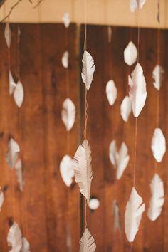 inspiration   hanging feather garlands   repin via: mstarr event design