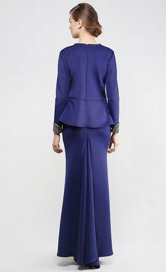 Her Majesty Modern Kurung Set in Navy Blue | FashionValet