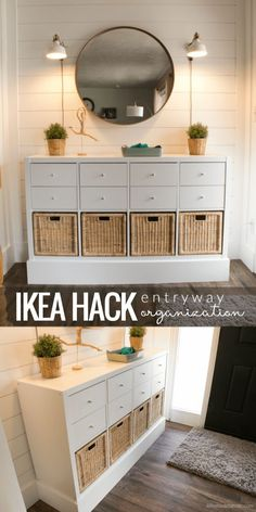 If we ever decide to upgrade our vinyl storage, we could keep the Kallax unit we have now and convert it like this! - Using Ikea Kallax Shelf To Organize Your Entry Beautifully wohnen Organizing My Entry! Easy, and on a Budget! Entry Organization, Entryway Storage, Ikea Entryway, Apartment Entryway, Ikea Shoe Storage, Ikea Hallway, Living Room Toy Storage, Narrow Entryway, Storage Drawers