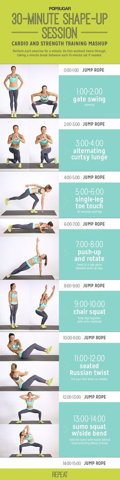 Printable Workout: 30 Minutes Cardio and Strength Training | POPSUGAR Fitness