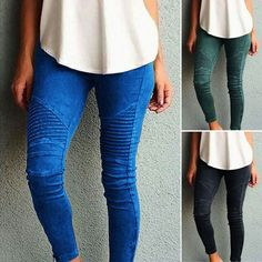 Women Fashion Slim Fit Stretchy Straight Long Pants Skinny Trousers Jeggins