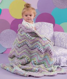 Ripple Baby Blanket Free Crochet Pattern from Red Heart Yarns