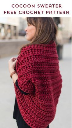 Like a big and comfortable blanket, the Juno Shrug will keep you warm, cozy, and super comfortable! It\'s the perfect shrug to wear on those cool, Fall crisp evenings. Crochet Shrug Pattern Free, Poncho Crochet, Crochet Cocoon, Bag Crochet, Chunky Crochet, Chunky Yarn, Crochet Clothes, Crochet Baby, Free Crochet