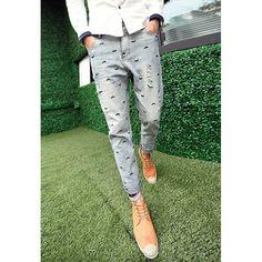 Slimming Narrow Feet Trendy Mustache Embroidery Men's Denim Nine Minutes of Pants, SKY BLUE, M in Jeans | DressLily.com