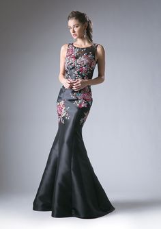 89a5a1a613 Black Illusion Dress with Floral Embroidery by Cinderella Divine C80089A. Prom  Dresses ...