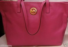 $195.00 MICHAEL KORS PINK LARGE LEATHER TRAVEL TOTE + FREE GIFT