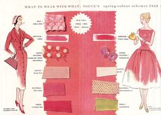 What to wear with what: Vogue's spring color schemes, 1955 Vintage Fashion 1950s, Vintage Mode, Retro Fashion, Vintage Style, 1950s Style, Womens Fashion, Vintage Color Schemes, Vintage Colors, Colour Schemes