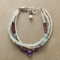 """MINT MéLANGE BRACELET--Aquamarine with a touch of frosty mint, luminous freshwater pearls, apatite awash in ocean blues and the deep drama of red garnet and amethyst make for eye-catching contrast. Handcrafted. Exclusive. Sterling silver closure. USA. 7-1/2""""L."""