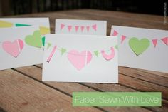 Sewing Paper - DIY Heart Card for a Love Bird - Patchworkcactus wedding, anniversary, craft, greeting cards