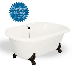 Melinda AcraStone Clawfoot Tub smooth to the touch inside and out. Perfected the Double Ended bathtub in a classic clawfoot style. AcraStone material is extremely durable and backed by a limited lifetime warranty. This double ended Melinda Clawfoot Tub Tiny Bath, Metal Finishes, Clawfoot Bathtub, Old World, Faucet, All In One, Old Things, Tubs, Champagne